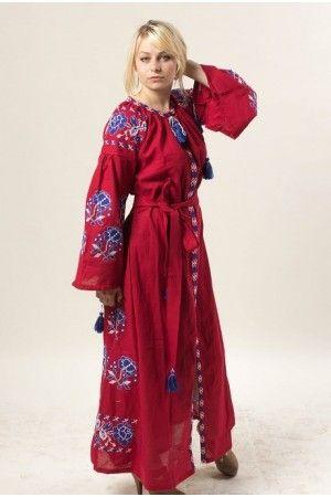 Елегантна сукня з домотканого полотна насиченого вишневого кольору. Пишні  рукави та клини на спідниці оздоблено в…  14bea246c38e0