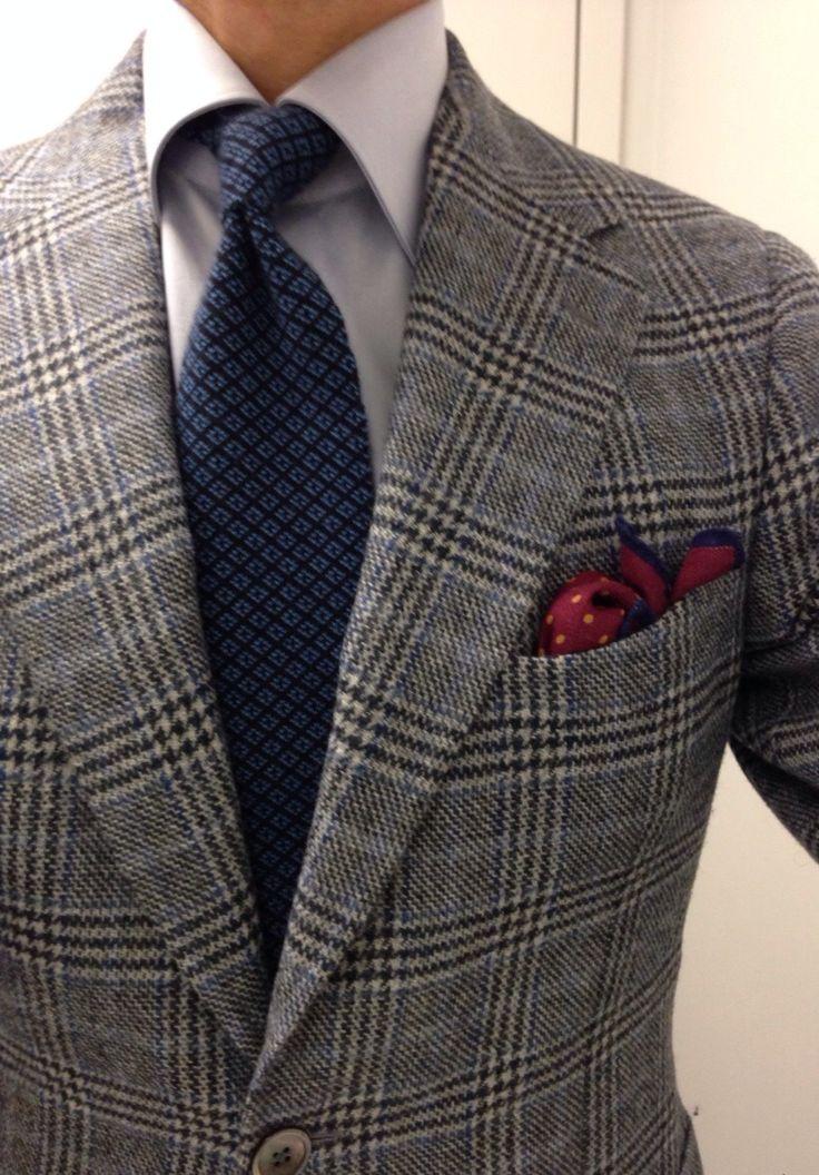 Panta custom SC Mattabisch by Kiton shirt Kiton 100% cashmere reversible tie Seaward & Stern wool silk PS...