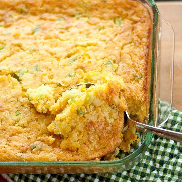 Corn Casserole: onion, green pepper (&/or jalapenos), eggs, cream corn, regular corn, butter & Jiffy corn muffing mix. Delish!