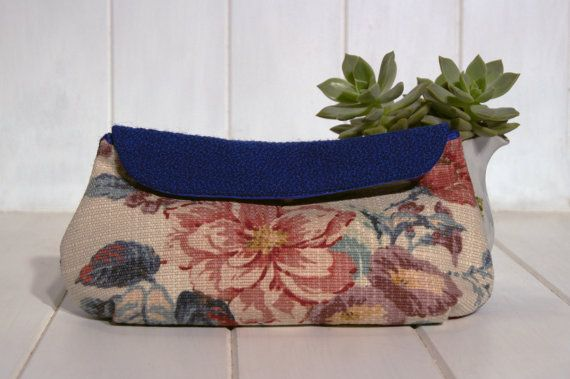 Handmade upholstery fabric clutch purse upcycled by NOOPdesigns