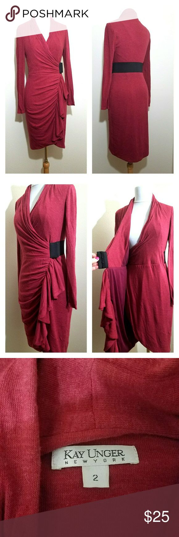 Kay Unger stretch wool wrap dress 2 Nice wrap Kay Unger stretch wool wrap dress. Light burgundy color. Bust is approximately 36 inches.  Length is approximately 41 inches.  Very good condition.  Smoke free home Kay Unger Dresses