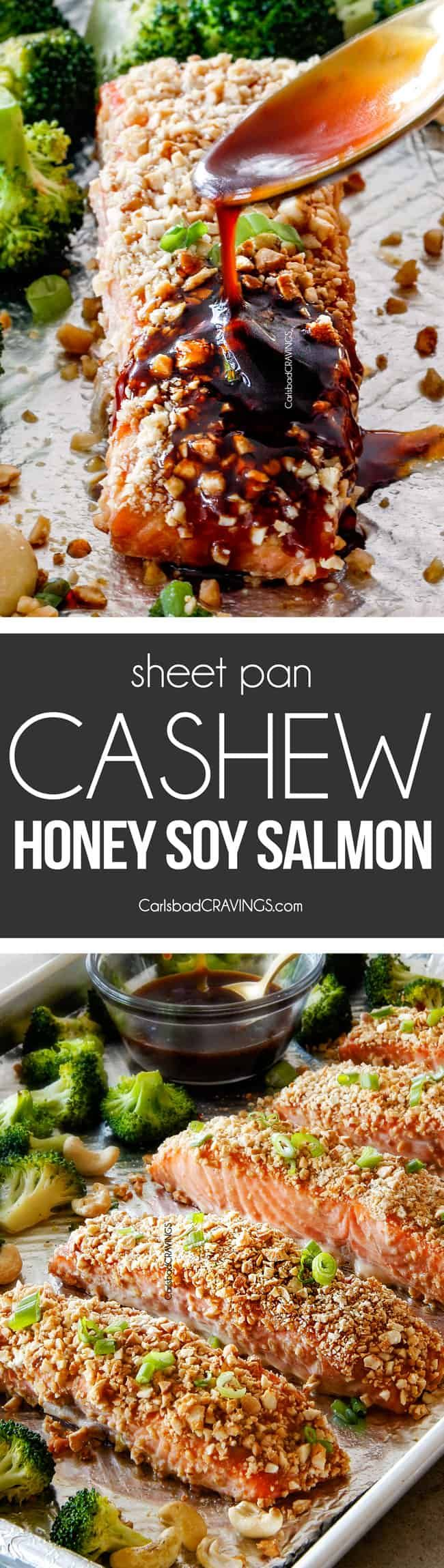 This Sheet Pan Cashew Honey Soy Salmon is a MEAL IN ONE that looks impressive but is SO easy, crazy delicious and healthy! It's tender and juicy on the outside, crusted in crunchy, buttery, roasted cashews on the outside, and drizzled with to-live-for Honey Soy Glaze all over! (sauce would go great on chicken also)