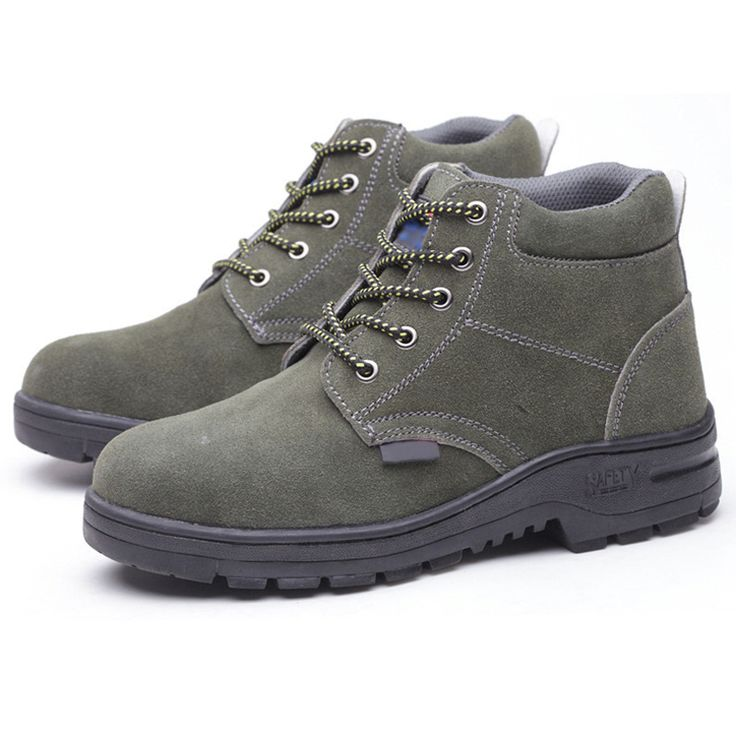 Plus Size 36-46 Women Genuine Leather Ankle Boots Steel Toe Cap Anti puncture and Anti-smashing Women Safety Work Shoes