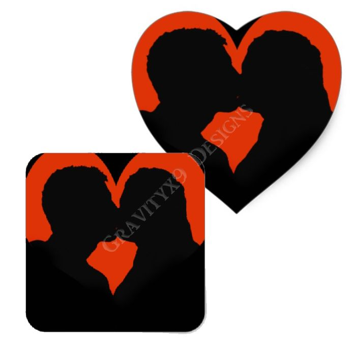 2 x Heart Stickers 7.5 cm Beautiful Snail Couple Kissing  #13070
