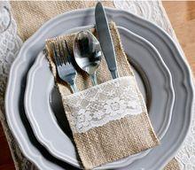 livraison gratuite 6pcs/lot nouveau style cœur de jute& dentelle toile de jute pochette porte couverts vaisselle décoration mariage rustique(China (Mainland))
