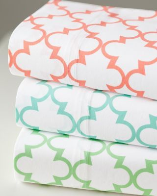 $16 - $68 Everyday Printed Percale Bedding from Garnet Hill.  Love the green!