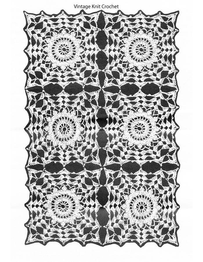 Square Centerpiece Square Tablecloth Crochet Pattern 7776 A-B