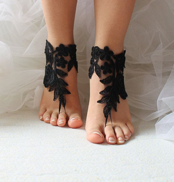 Hey, I found this really awesome Etsy listing at https://www.etsy.com/listing/277064900/black-lace-wedding-sandals-bridal