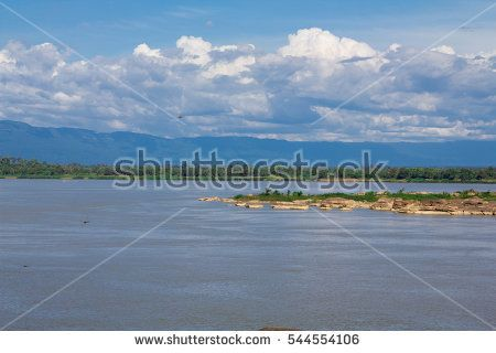 Mekong River with small island view take from Champasak, Laos