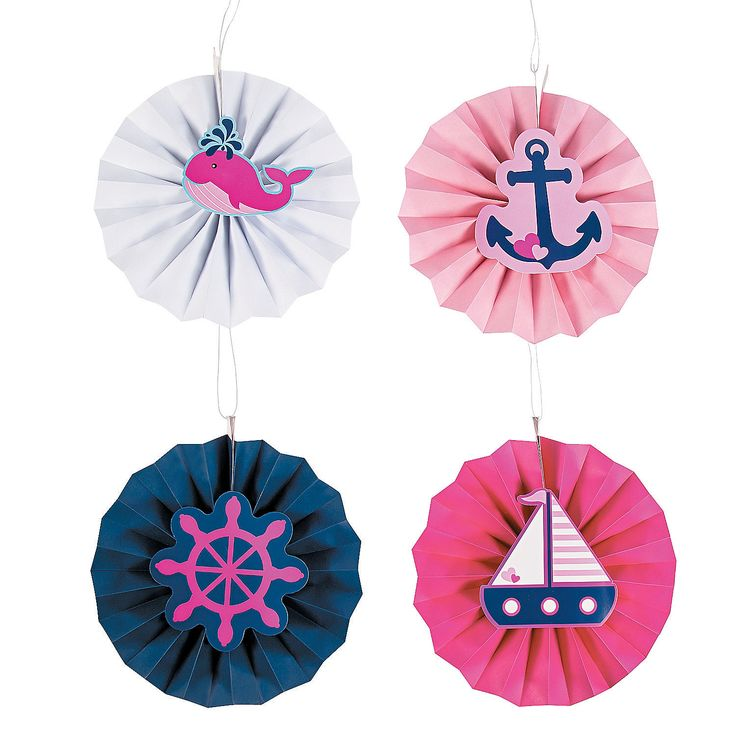 "Nautical Girl Hanging Fans with Icons - These nautical hanging fans are so nice for a 1st birthday party or baby shower! Pretty in pink and blue, they're a great way to accent your other nautical decorations. Give flair to your festivities when you suspend them from the ceiling or tree branches. Featuring whales, anchors and more, they're a sweet way to make an important day even more delightful. Paper. 12"" diam. Simple assembly required. $12.99 Per Dozen"