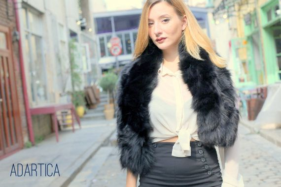 Black Fox Fur Scarf
