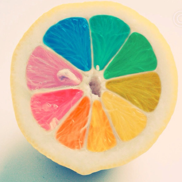 Rainbow Lemon!!Chocolates Trifles, Artists, Favors, Rainbows Fruit, Food, Mornings Coffe, Pies Charts, Summer Colors, Lemon