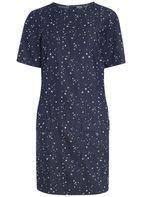 Womens **Tall Blue Star Print Shift Tunic- Blue
