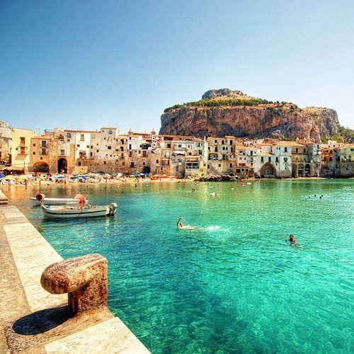 On my bucket list! Turquoise, Cefalu, Italy