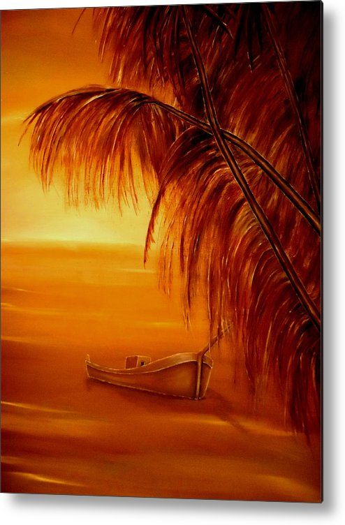 Metal Print,  nature,coastal,scene,sunset,sunrise,tropical,boat,palmtrees,seascape,ocean,nautical,marine,island,sea,water,wooden,gold,golden,orange,image,beautiful,fine,oil,painting,contemporary,scenic,modern,virtual,deviant,wall,art,awesome,cool,artistic,artwork,for,sale,home,office,decor,decoration,decorative,items,ideas