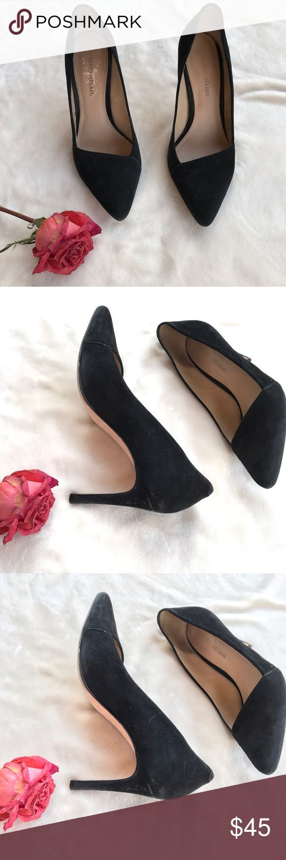 💕PROM shoes💕black suede heels Some scruffs (see pics) but so cute and stylish ANTONIO MELANI Shoes Heels