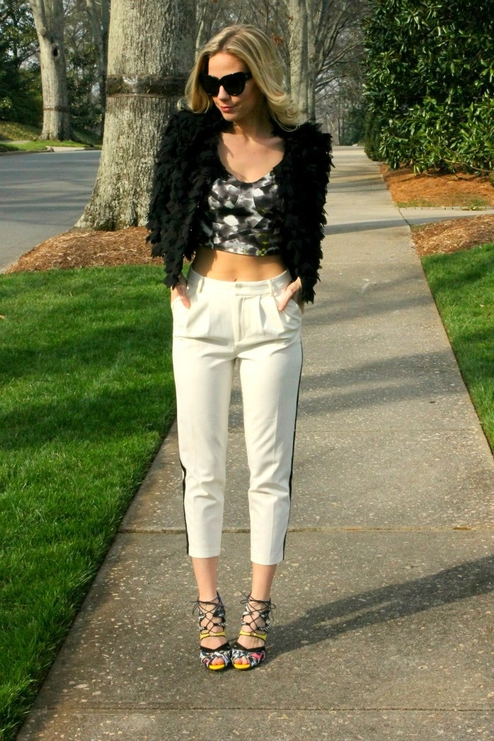 petal embellished jacket, tie dye crop top bustier cropped tuxedo pants and print heels. theBsoup.com
