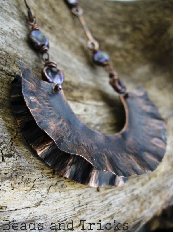 Copper and freshwater pearls necklace.Foldformed pendant. {Handmade by Beads and Tricks}