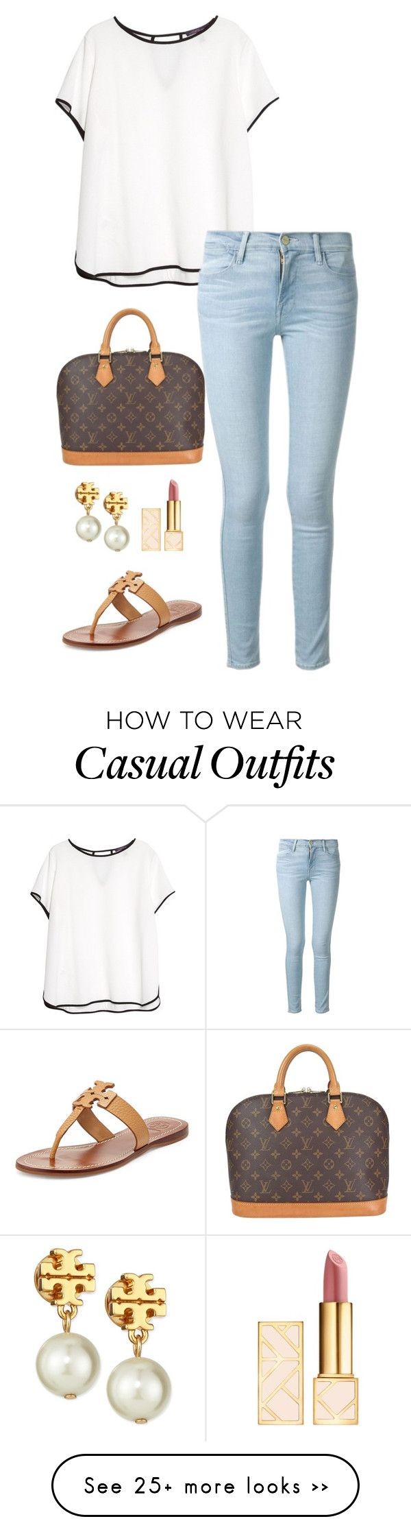 """""""casual day"""" by kcunningham1 on Polyvore featuring Violeta by Mango, Frame Denim, Louis Vuitton and Tory Burch"""