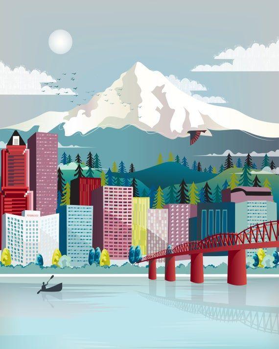 Portland Print Oregon Wall Art Portland Skyline Mount Etsy Portland Skyline Travel Posters City Skyline Art