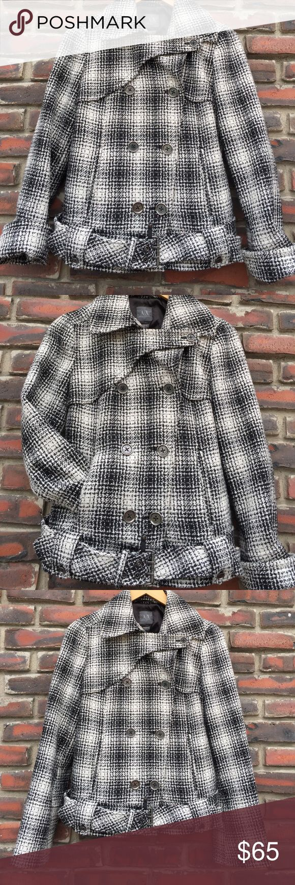 Armani Exchange Black & White Jacket M A/X Armani Exchange Black & White Checked Jacket, size medium, button-down, belted, collard, two front side slide pockets, absolutely adorable with a pair of high black boots . A/X Armani Exchange Jackets & Coats