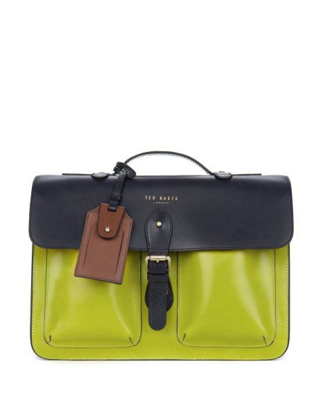 Leather satchel - Navy | Bags | Ted Baker ROW