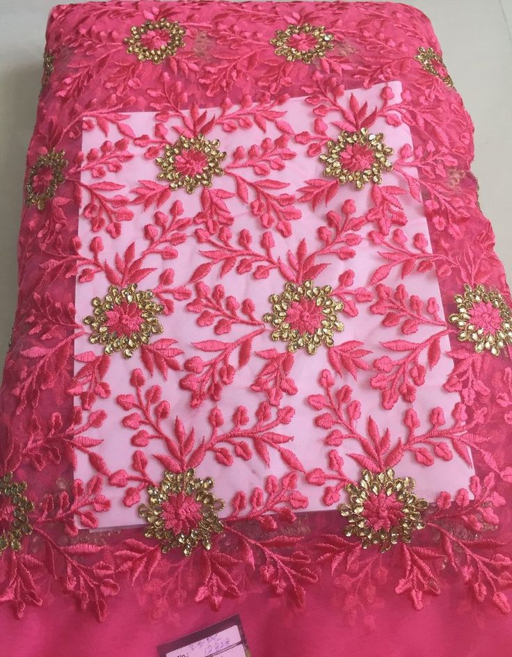 THREAD AND KUNDAN STONE EMBROIDERED NET FABRIC