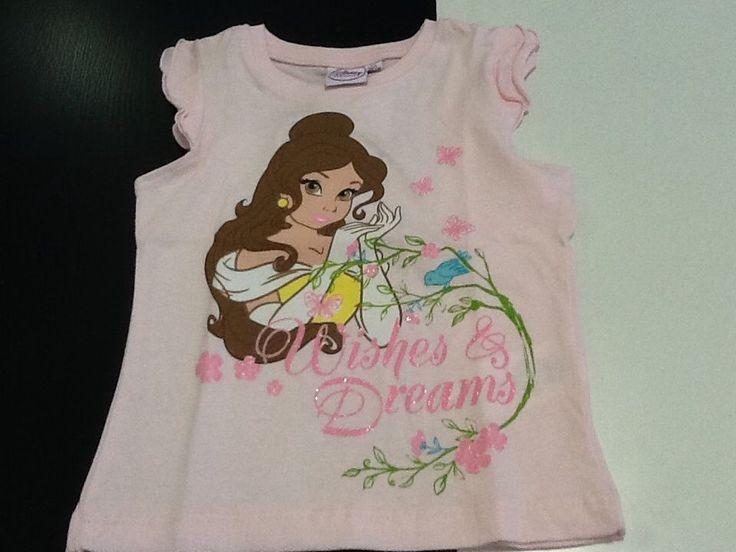 Maglietta bambina manica corta Principessa Belle Disney 4 anni SCONTO 30%