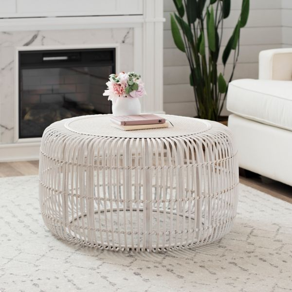 White Bamboo Drum Coffee Table Kirklands Drum Coffee Table Coffee Table Living Room Coffee Table #round #end #table #for #living #room