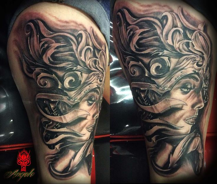filigree woman facedone by angelo rising dragon tattoo