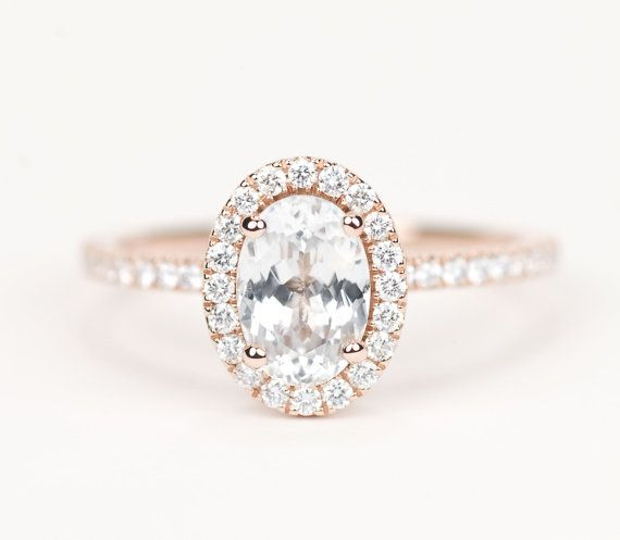 Certified Oval White Sapphire Diamond Halo Engagement Ring 14K Rose Gold