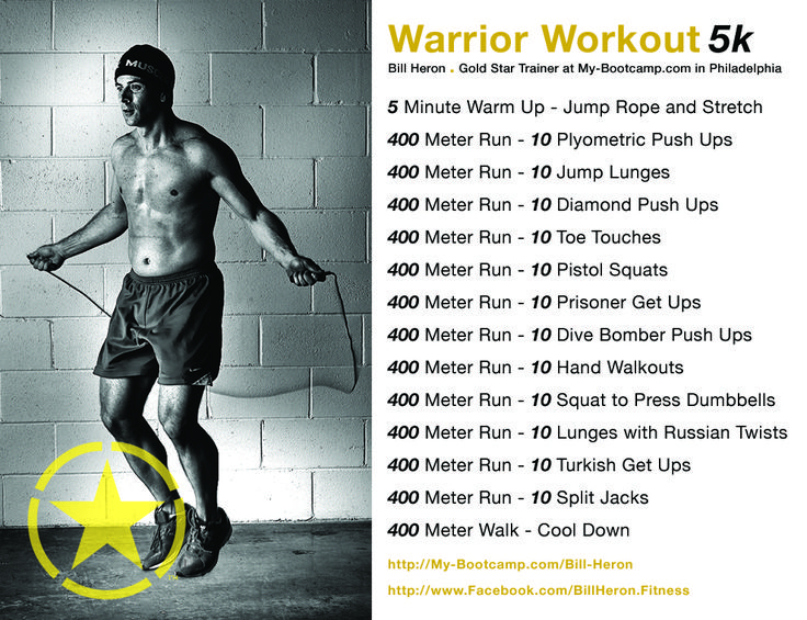 Here's a great workout to help prepare for runs such as Tough Mudder or Spartan Race....kick some Butt! #