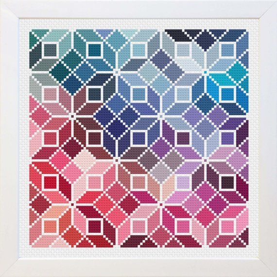 Bring some color to your home with this beautiful modern cross stitch! This patt…