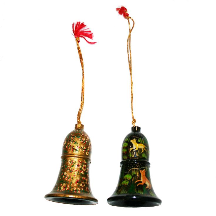 Hand-painted Papier-mâché Christmas Ornaments from India: Bells-pack3: Gold and Creatures
