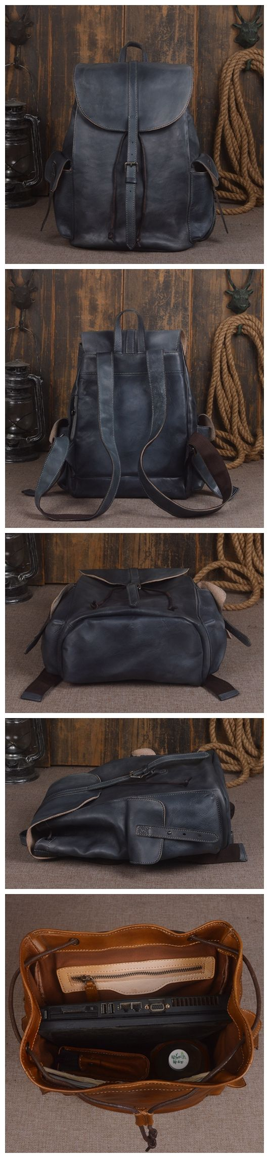 Vintage Handmade Genuine Leather Backpack Hiking Rucksack Travel Backpack School Backpack in Navy 14140