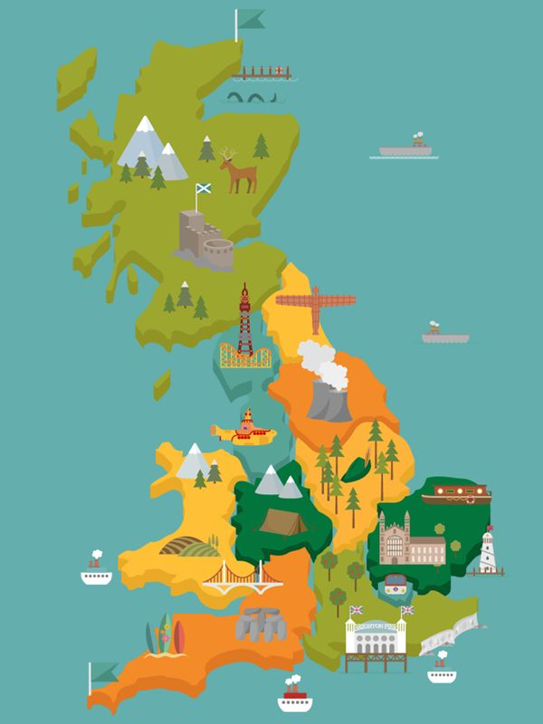 Map Illustration with popular UK landmarks  Illustration