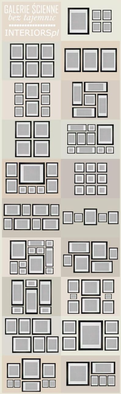 Gallerie wall ideas - use this as a starting point for creating grid based layout designs