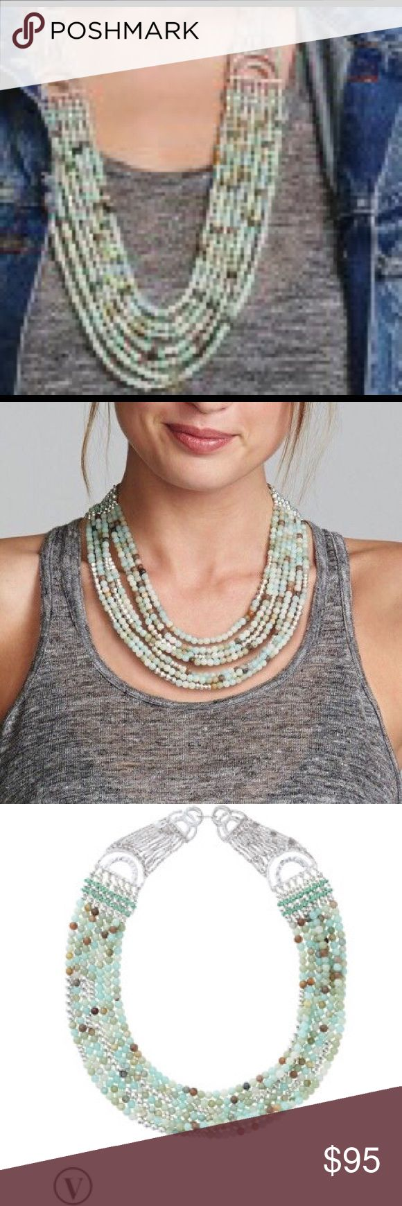 Stella and dot Cleopatra Statement Necklace Fabulous turquoise and brown stones. Versatile. Silver chain. Never worn. Box included! Stella & Dot Jewelry Necklaces
