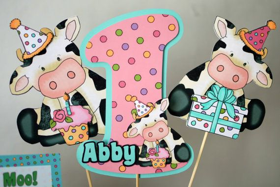 COW Birthday Party THREE Piece CENTERPIECE Barn by bcpaperdesigns #cowparty #cowbirthday #partyideas