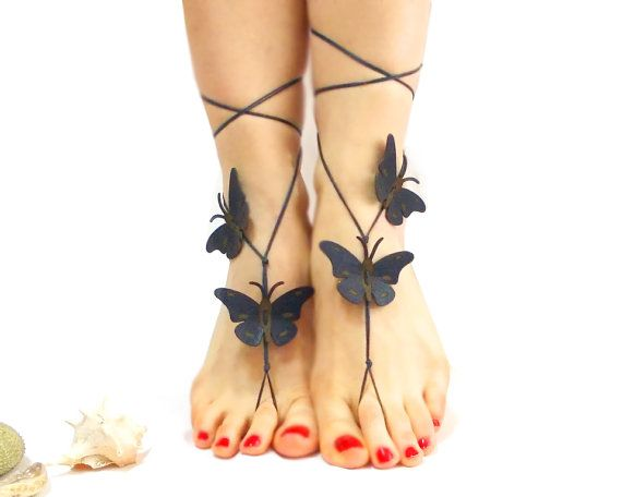 Butterfly barefoot sandal Genuine leather anklet dark blue