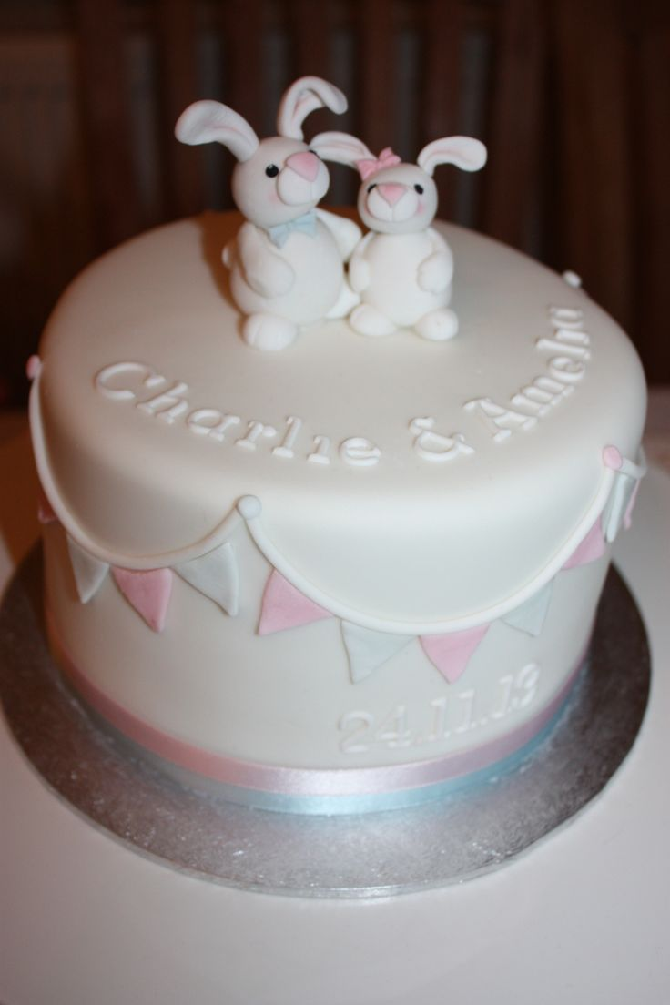 Bunny joint christening cake