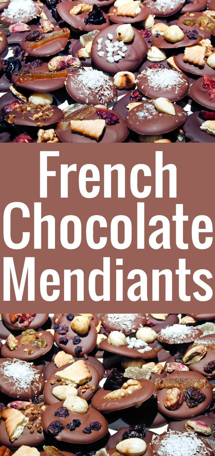 An easy recipe to make French chocolate mendiants, small disks of chocolate garnished with assorted toppings. A Christmas tradition of Provence.
