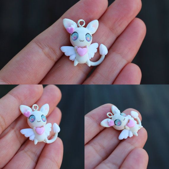 Pastel Jewel Eyed Kawaii Bunny Charm Necklace . Polymer Clay Charm . Blue Bow . White Bunny . Rabbit. Kawaii Critter . Butterflies by thelittlemew on Etsy