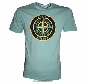 Stone Island Green T-Shirt With Large Compass Printed Logo