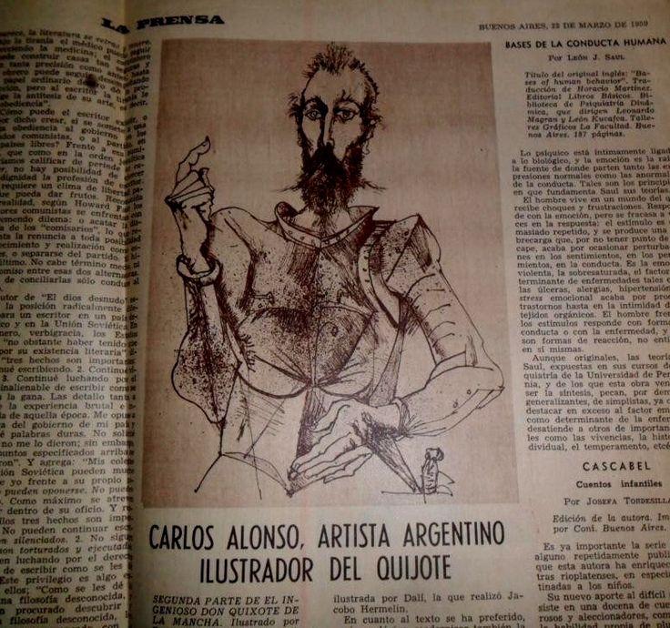 Antigua Diario La Prensa (1959) Carlos Alonso, Don Quijote.