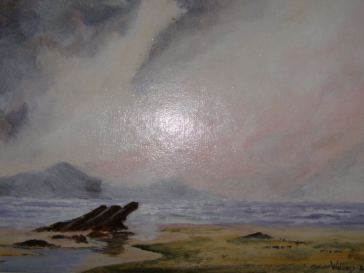 On The Beach Oil painting by C Walters 12 x 9