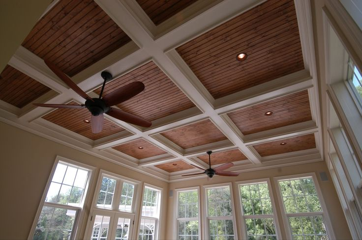 Coffered Ceiling With Stained Bead Board And Recessed