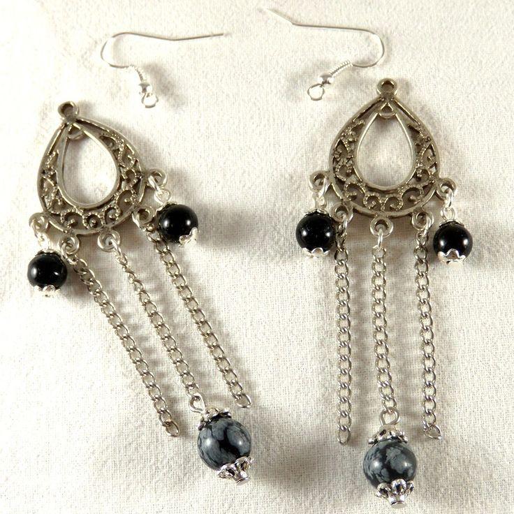 2 Pendants Obsidienne création boucles d'oreilles : Supports boucles d'oreilles par clarashop