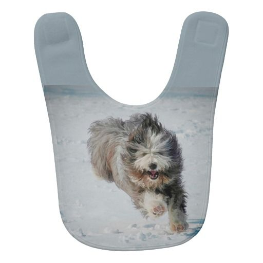 Bearded collie Baby Bib. Protect your baby's cute outfits from mess and spills with an ultra-soft customized baby bib! Made with polyester fleece, this baby bib comes with a Velcro closure for easy wear and removal.