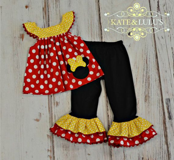 Girl Red yellow and Black Minnie Mouse Outfit by KateandLulus